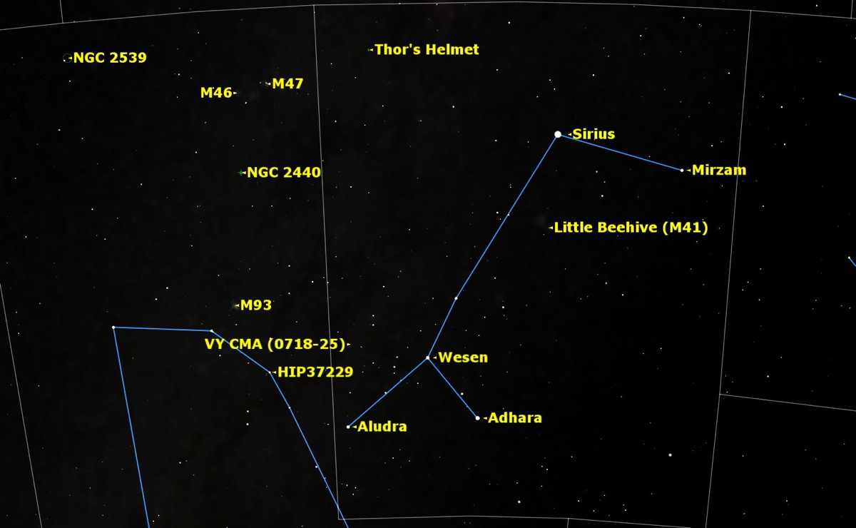 Canis Major Sky Map March 2015