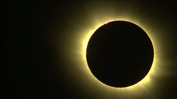 The total solar eclipse of 2015 is captured in this spectacular view webcast live by NRK News on March 20 from Norway's Svalbard archipelago in the Arctic Ocean.
