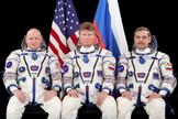NASA astronaut Scott Kelly and cosmonauts Gennady Padalka and Mikhail Kornienko (L to R) are due to launch to the International Space Station on March 27. Kelly and Kornienko will remain on the station for one year.
