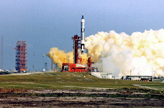 Gemini 3 lifts off atop a Titan rocket from Cape Canaveral's Pad 19 in Florida at 9:24 a.m. EST on March 23, 1965.