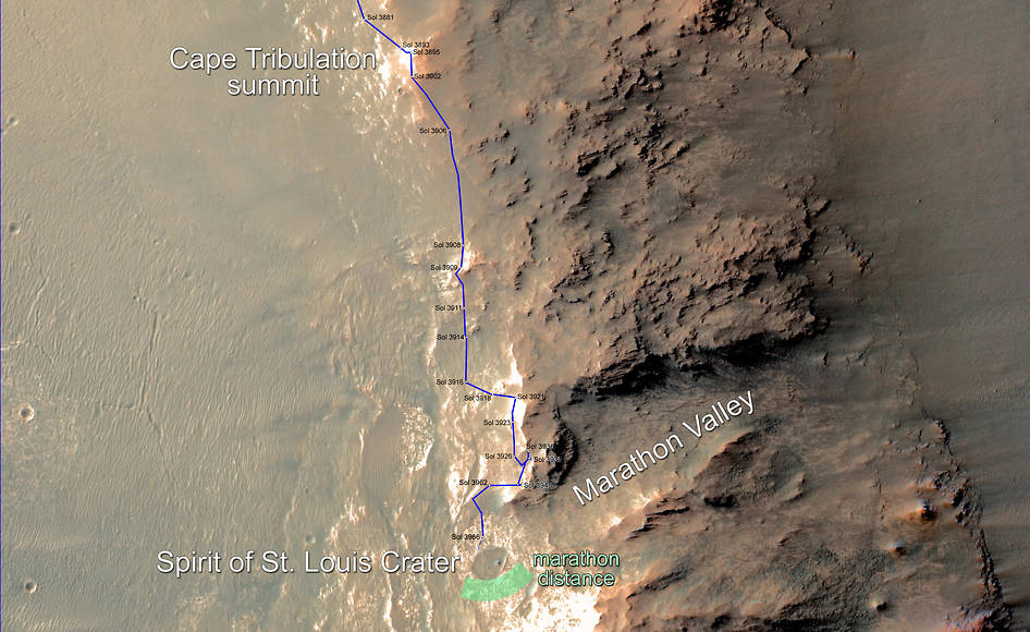Map of Opportunity's Mars Marathon Route