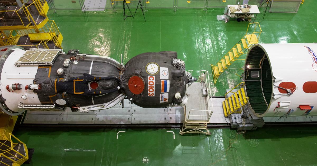 Soyuz TMA-16M Spacecraft Lowered for Encapsulation