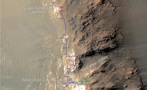 Eleven years and two months after landing on Mars, NASA's Opportunity Mars rover has driven in total further than the length of a marathon race: 26.219 miles (42.195 km.).