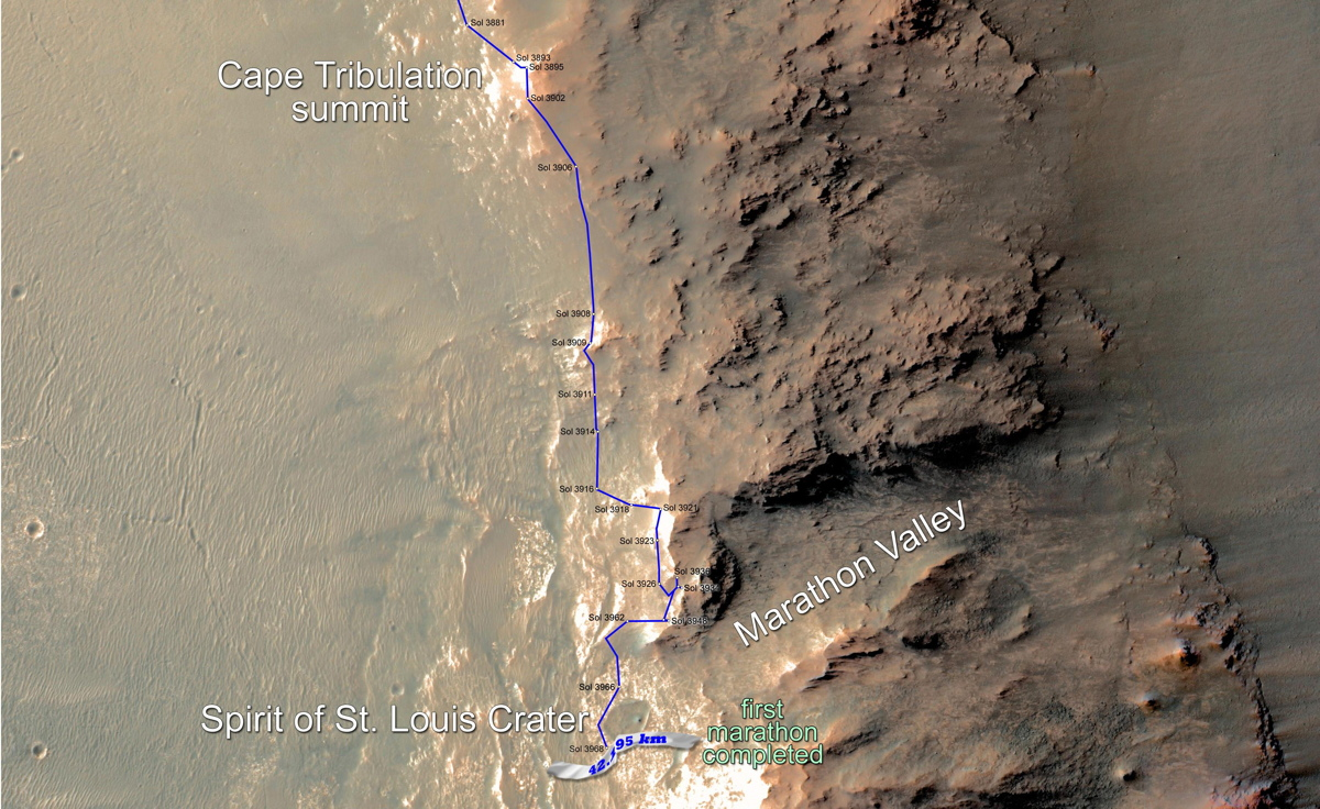 Opportunity Rover Surpasses the Distance of a Marathon Race