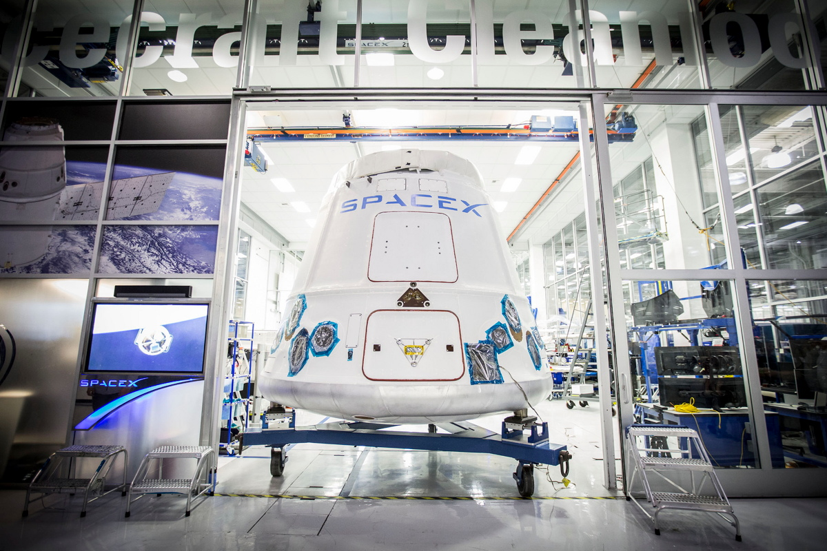 Dragon Capsule Leaving SpaceX Headquarters