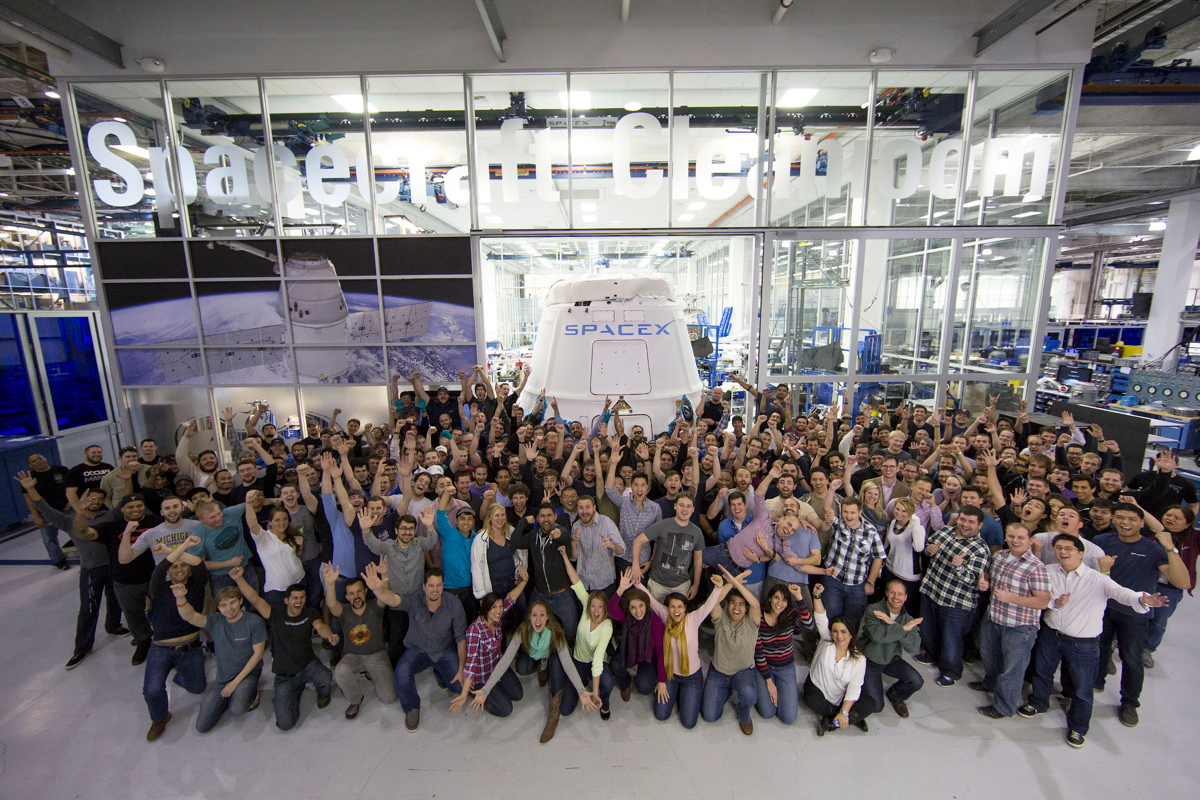 SpaceX Workers Cheering Dragon Capsule