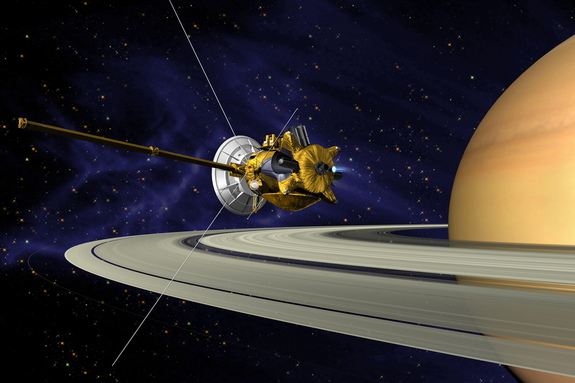 An artist's rendition of NASA's Cassini entering orbit around Saturn.