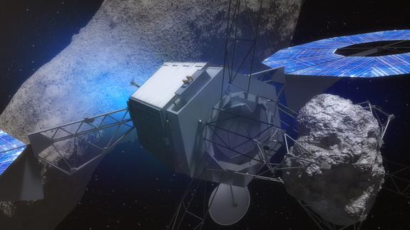"NASA's Asteroid Redirect Mission aims to capture a boulder from a larger asteroid and park it in orbit around the moon by 2025. NASA announced the selection of this scenario, called ""Option B,"" on March 25, 2015."