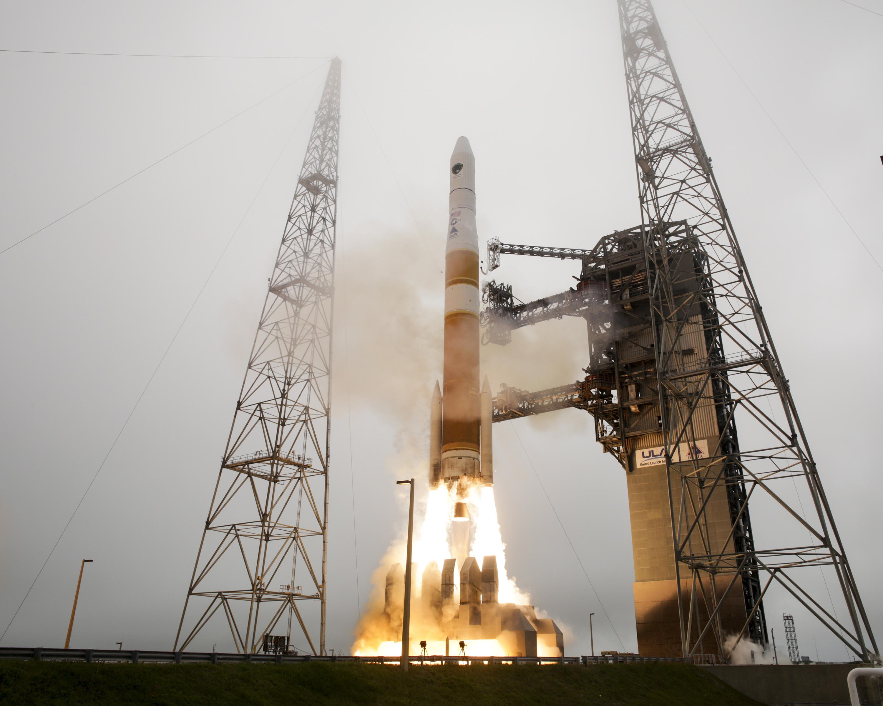 The U.S. Air Force's GPS IIF-9 satellite blasts off from Florida's Cape Canaveral Air Force Station atop a United Launch Alliance Delta 4 Heavy rocket on March 25, 2014.