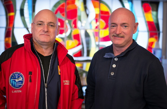 NASA astronaut Scott Kelly (left) will spend a year in space onboard the International Space Station. His identical twin brother Mark Kelly (right) will help scientists with experiments on the ground to give them a wide amount of data during Scott's mission.
