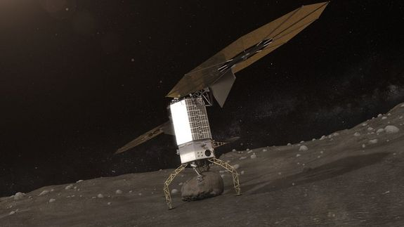 Artist's illustration of a robotic capture probe grabbing a boulder from a near-Earth asteroid.