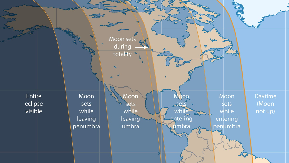 April 4, 2015, Total Lunar Eclipse Map