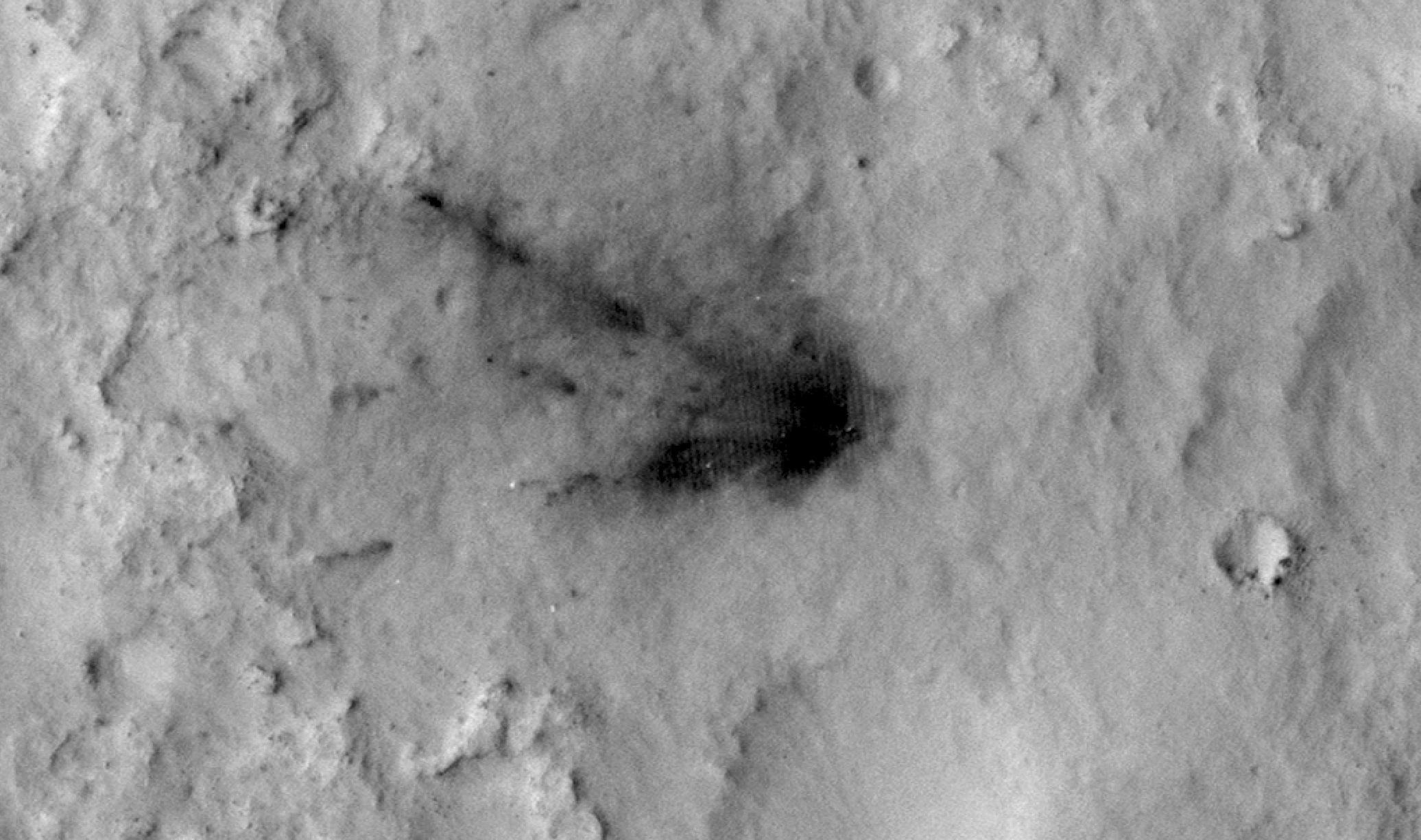Blast Zone Created by Curiosity Rover's Sky Crane