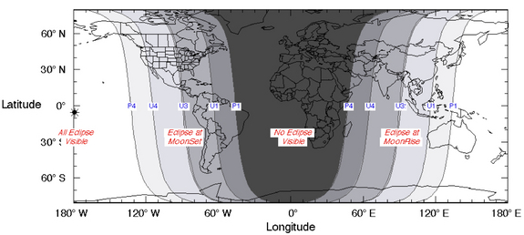 Visibility map for the total lunar eclipse of April 4, 2015.