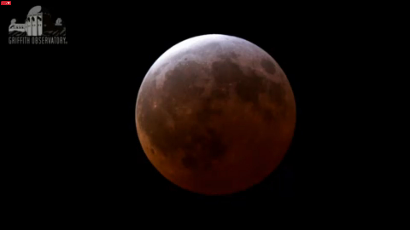 Total Lunar Eclipse Totality: Griffith Observatory