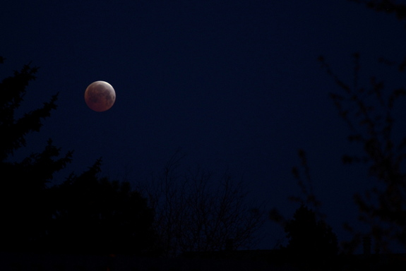 """The shortest lunar eclipse of the century created a """"blood moon"""" over parts of the United States and the Pacific Ocean on April 4."""