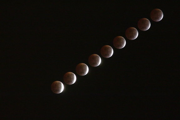 Veteran skywatcher Maxim Senin of Redondo Beach, California combined multiple exposures to create this time-lapse view of the total lunar eclipse of April 4, 2015.