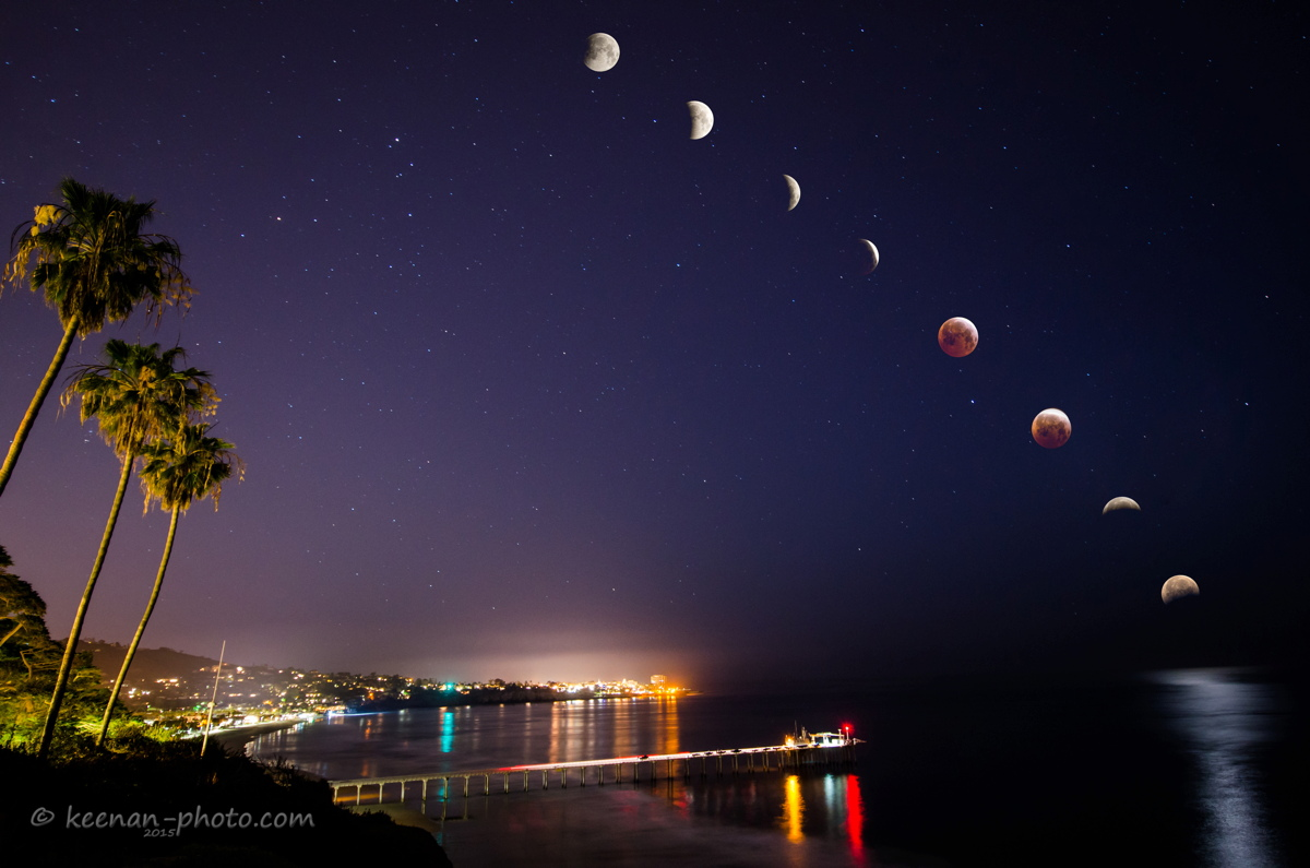 April 4, 2015, Total Lunar Eclipse Seen in La Jolla, California