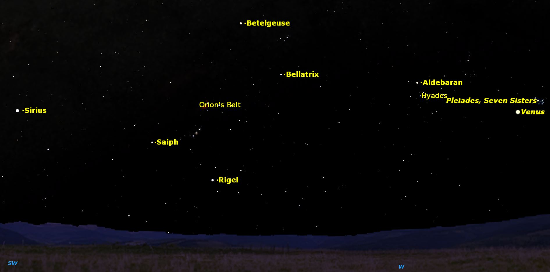 Sky Map for Winter Stars, April 2015
