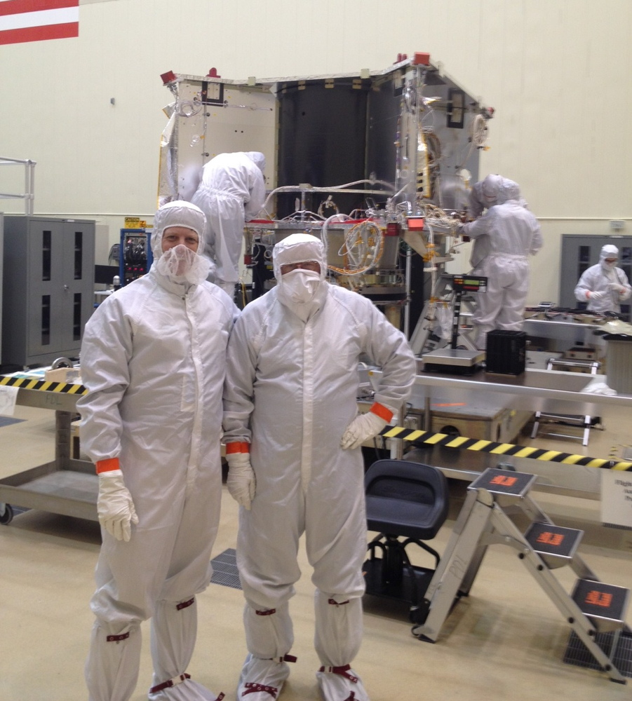 Leonard David in OSIRIS-REx Clean Room