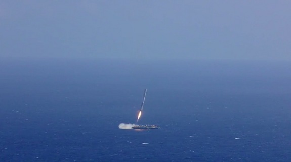 The first stage of SpaceX's Falcon 9 rocket attempts to land on a robotic ship on April 14, 2015, shortly after sending the company's Dragon cargo capsule to orbit.