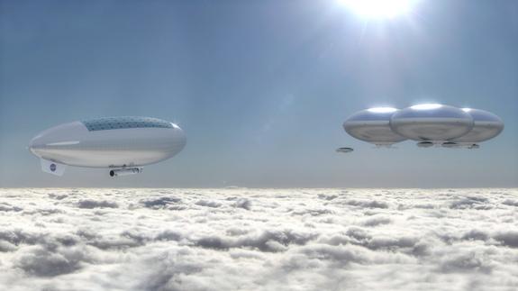 Artist's concept of a Venus cloud city — a possible future outcome of the High Altitude Venus Operational Concept (HAVOC) plan.