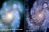 Hubble's view of the M100 galaxy before (left) and after (right) the installation of WFPC2.