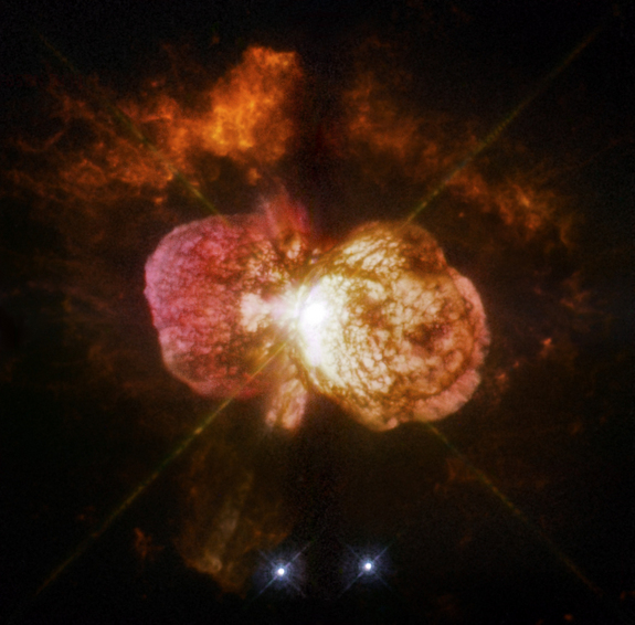 Sometime in the 1840's, Eta Carinae exploded and left behind the billowing Homunculus Nebula, which contains at least 10 times more material than the sun. But Eta Carinae was only a fuzzy blob in the sky before it was imaged by the Hubble Space Telescope
