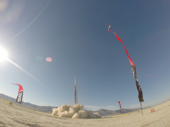 """A rocket carrying yeast for Ninkasi Brewing Company launches from Nevada's Black Rock Desert in July 2014. This so-called """"Mission One"""" did not result in any """"space beer"""" because it took four weeks to retrieve the payload and most of the yeast cells died."""