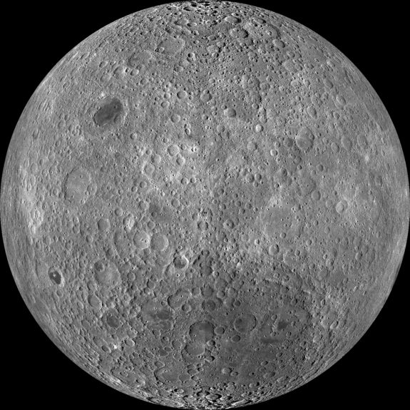 The lunar far side as seen by NASA's Lunar Reconnaissance Orbiter's Wide Angle Camera (LROC).