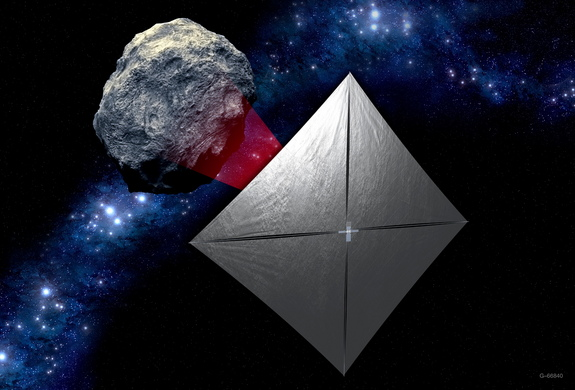 Artist's concept of NASA's Near-Earth Asteroid Scout cubesat studying a space rock far from Earth.