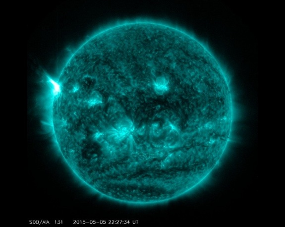 NASA's Solar Dynamics Observatory captured this image of an X2.7 solar flare (visible on left side of sun) on May 5, 2015.