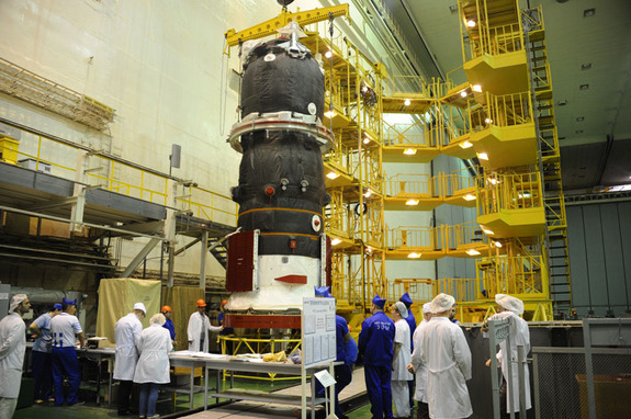The automated Russian cargo ship Progress 59 is seen being readied for launch in April 2015.