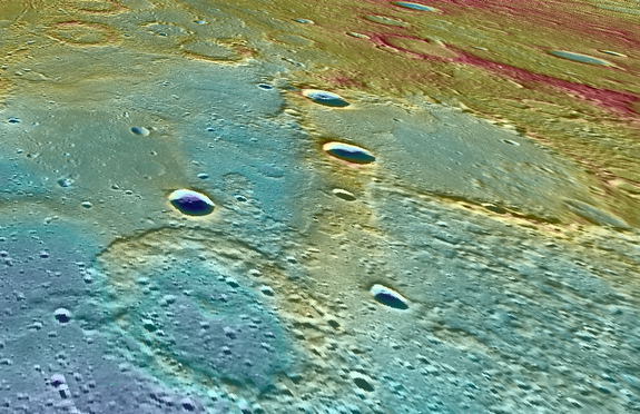 This view of Mercury from NASA's MESSENGER spacecraft looks west across a linear scarp that separates two different terrains, one higher on the right (in red and yellow) and one lower at the left (in blue colors).