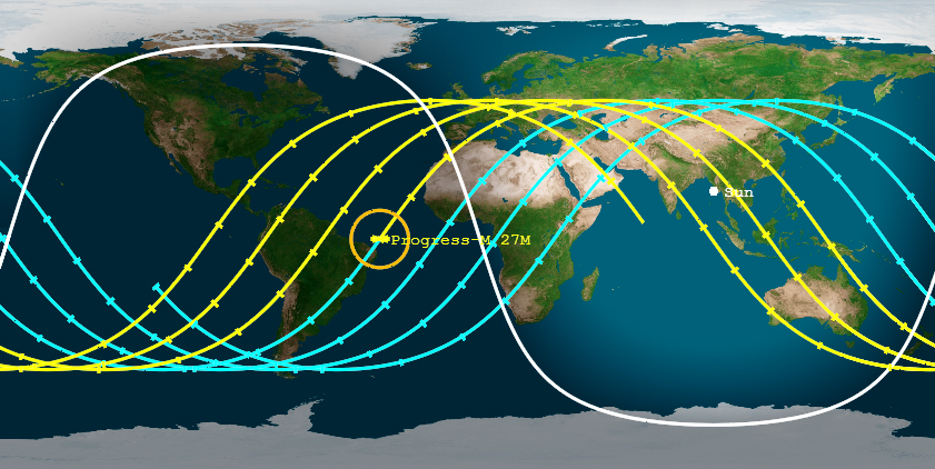 This Aerospace Corporation map shows the potential re-entry paths of Russia's doomed Progress 59 spacecraft, with re-entry plots for Friday, May 8 at 1:40 a.m. ET (0540 GMT), plus or minus 5 hours.