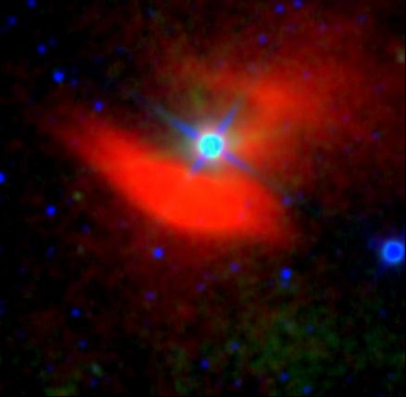 A false-color image of the mid-infrared nebula surrounding the nearby star 48 Librae.