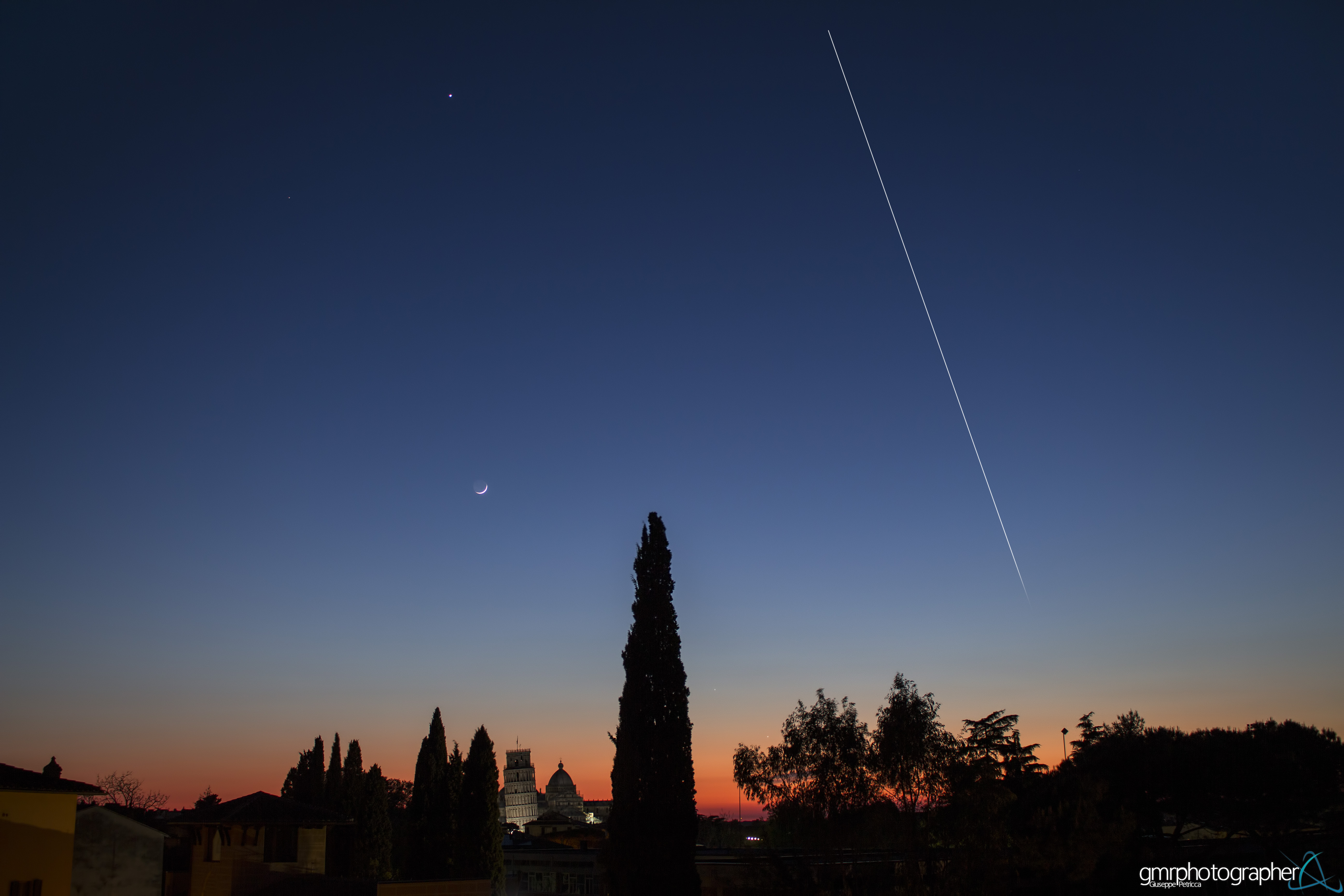 Space Station, Moon and Planets Dance Over Pisa