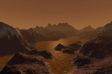 An artist's impression of the low-lit surface of Titan under the moon's thick, orange haze, with liquid hydrocarbons pooling and eroding the surface much like water on Earth.
