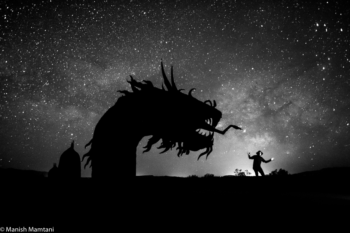 Photographer Manish Mamtani took this selfie with a dragon statue created by Ricardo Creceda during a night sky photo session at Borrego Springs, California on April 17-19, 2015.