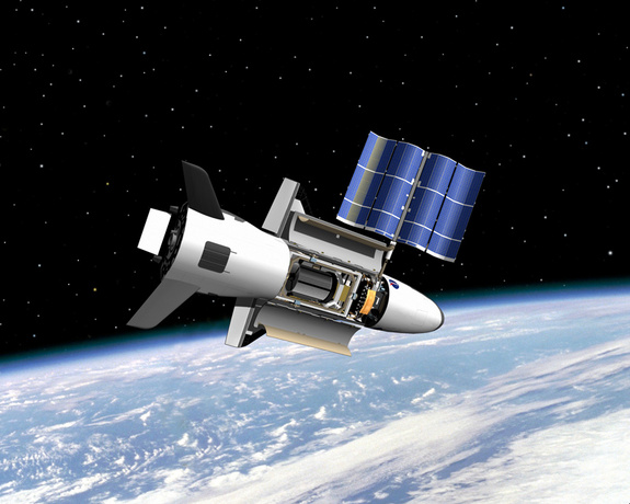 Artist's concept of the U.S. Air Force's X-37B space plane in orbit.