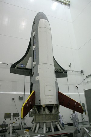 A photo from a previous X-37B mission shows launch processing of a Boeing-built X-37B Orbital Test Vehicle.