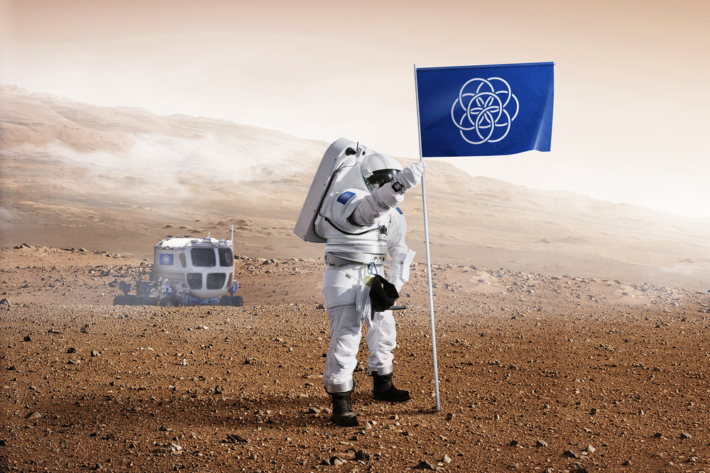 Proposed International Flag of Planet Earth on Mars