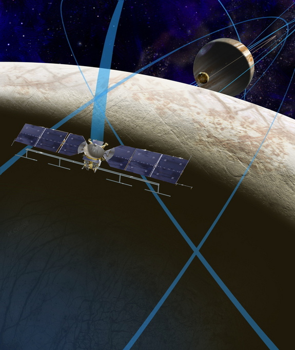An artist's illustration shows a concept for a future NASA mission to Europa, Jupiter's moon.