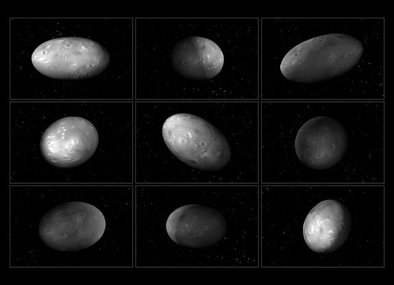 These illustrations of Pluto's moon Nix show how the orientation of the moon changes unpredictably while it orbits the Pluto-Charon system.