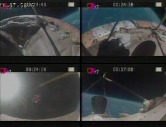 "This four-camera view from NASA's ""flying saucer,"" the Low-Density Supersonic Decelerator, shows different views from the craft during its June 8 launch to test Mars landing technology. The craft's inflatable air brake inflated, but its parachute (lower left) failed to deploy properly."