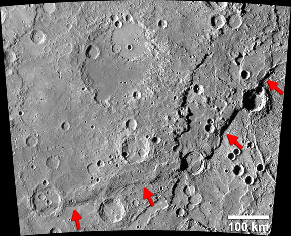 The Enterprise Rupes on Mercury (identified by arrows) is the largest lobate fault scarp on Mercury. It is 621 miles long (1,000 kilometers) and rises 1.8 miles (3 km) above the Rembrandt basin, one of the largest impact craters on Mercury.