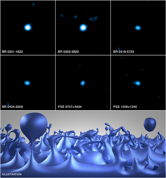 Observations of distant quasars in X-rays from Chandra (top six images) and gamma-ray telescopes are helping scientists test the nature of space-time at extremely small scales. This artist's illustration (bottom) depicts how the foamy structure of space-time may appear, showing tiny bubbles quadrillions of times smaller than the nucleus of an atom that are constantly fluctuating and last for only infinitesimal fractions of a second.