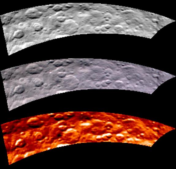 The same portion of the dwarf planet Ceres' northern hemisphere appears three times, first in black and white (top), then true-color (middle) and finally in infrared to show temperature. Dawn captured these observations of Ceres on May 16, 2015.
