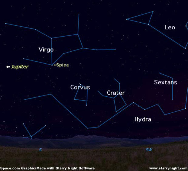 Hydra, Corvus and Crater Constellations Image