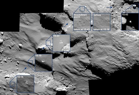 These images from the European Space Agency's Rosetta spacecraft show the approach of the Philae comet lander (insets) to Comet 67P/Churyumov–Gerasimenko on Nov. 12, 2015, including views of the probe's bounces on the surface.